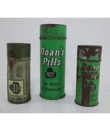 Vintage Doan's Pills 3 Tin Containers - $6.50