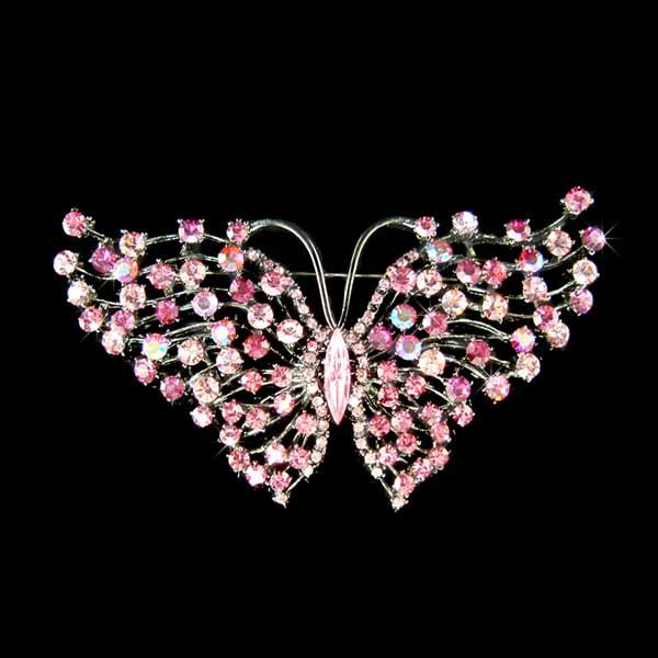 Huge Bridal Wedding Sexy Swarovski Crystal Pink Butterfly Br