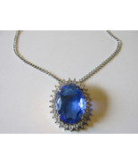 Blue Sapphire Glass Pendant Necklace / Pin, Ma... - $19.99