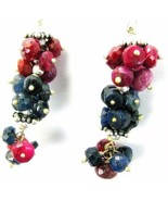 Natural Hand faceted Ruby and Sapphire Sterling... - $94.09