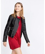 BNWT ZARA REAL  LEATHER BIKER JACKET WITH ZIPS ... - $139.99
