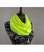Infinity Scarf Neon Bright Yellow Circle Scarf by ForgottenCotton