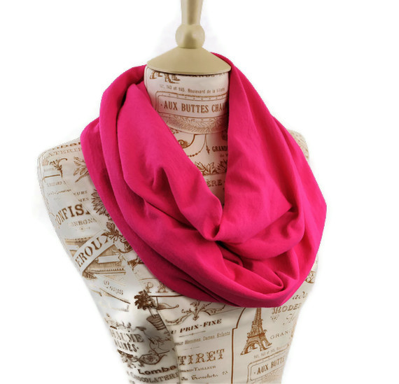 Hibiscus Bright Pink Jersey Infinity Circle Scarf by ForgottenCotton
