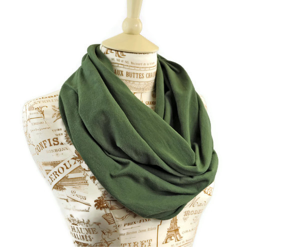 Dark Sage Green Infinity Loop Eternity Scarf