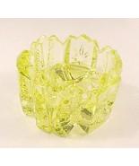 Yellow Vaseline Art Glass V Open Salt Dip Cellar - $7.00