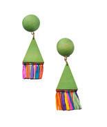 Vintage 1980 Wood Green Triangle Rainbow Fringe... - $12.50