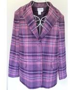 Chadwick's BLAZER jacket 100% WOOL plaid PLUM p... - $30.14