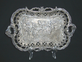 High Relief Victorian Pewter Tray - $12.95