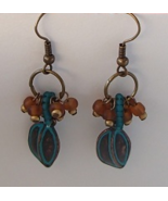 Handcrafted Copper Wire Inlaid Brass Beaded Ear... - $9.99