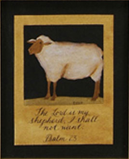 Inspirational Framed  on Primitive Inspirational Framed Scherenschnitte Art Psalm 23 Sheep