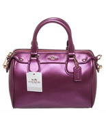 Coach Metallic Purple Leather Sachel Handbag - $350.00