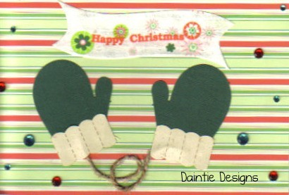 Handmade Winter Green Mittens Sure to Make You Warm Greeting Card