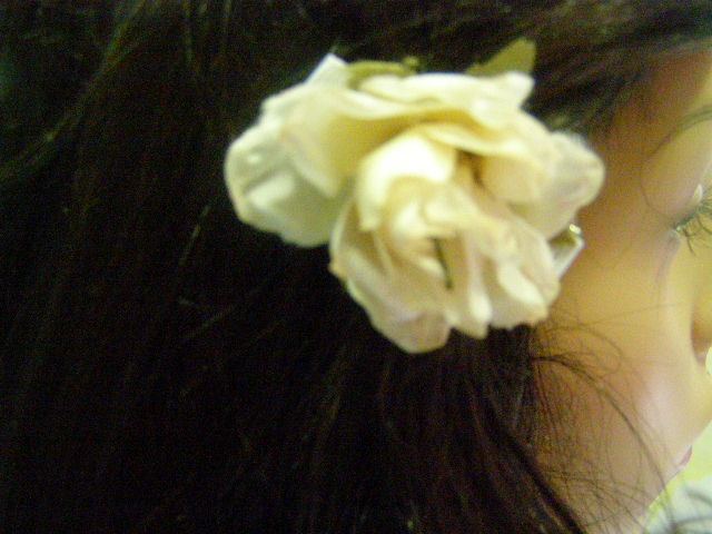 Handmade Cream Ivory Off White Ribbon Rose Barrette Cabalina