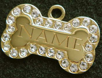 Designer Large Size Gold Plated Doggie Bone Pet ID Tag