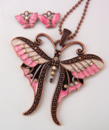 Butterfly Rhinestone Necklace Set Clip Earrings... - $4.50