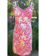 TIBI sundress PREPPY floral RIBBON coral PINK a... - $80.04