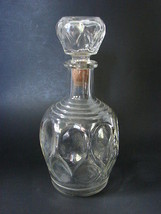 Vintage Glass Decanter Pitcher Molded Cork Swir... - $14.99