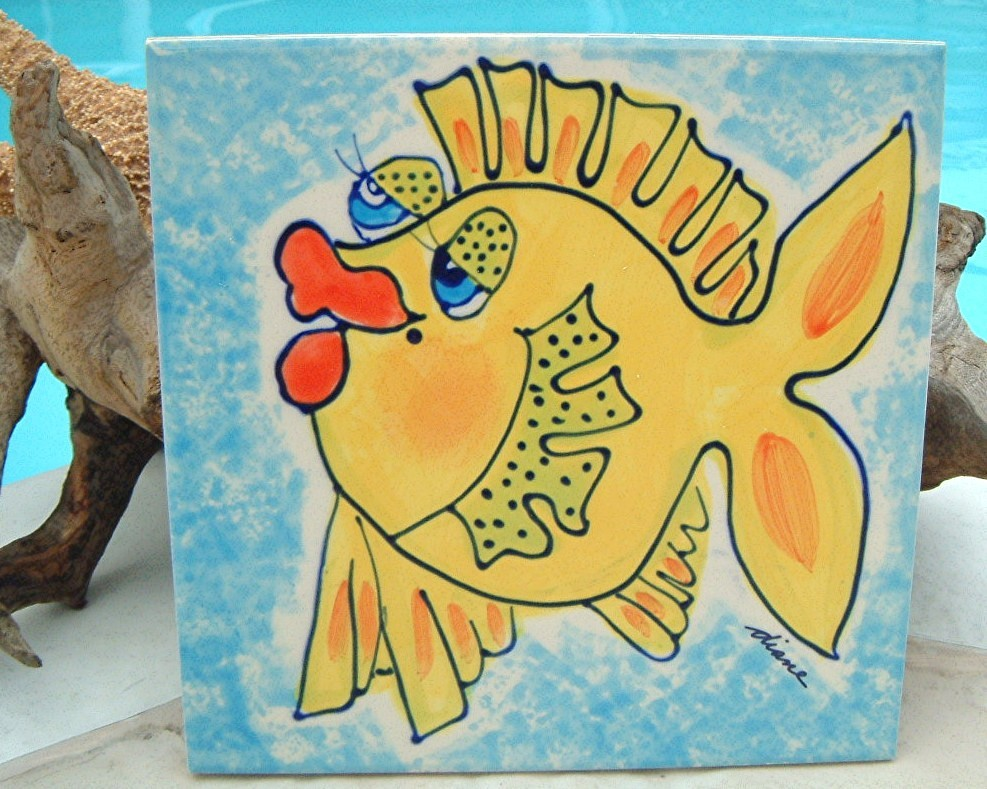 Diane Artware Wall Art Tile Trivet Bright Yellow Fish 2001