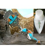 Native American Inlay Sterling Pendant Necklace... - $159.95