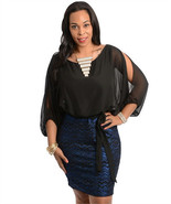 Sexy Split Shoulder Black Top Shimmer Skirt Plu... - $37.99