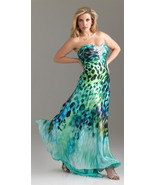 Exotic Ocean Green Blue Leopard Sexy Strapless ... - $319.99