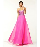Sexy Strapless Hot Pink Beaded Chiffon Evening ... - $240.00