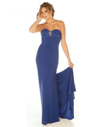 Sophisticated Sexy Strapless Beaded Royal Blue ... - $254.99