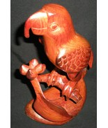 Hand Carved Parrot Perched on a Branch - $120.00