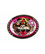 Small Tiger Pink Flower Belt Buckle By ED HARDY... - $21.25