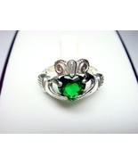 925 Silver Irish Claddagh Green Cubic Zirconia ... - $18.00
