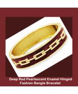 Gold Tone Red Enamel Fashion Bangle Bracelet wi... - $12.99