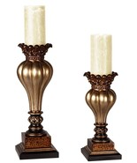 Set of 2 Old World Gold Bronze Pillar Candle Ho... - $68.00