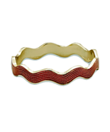 Gold Tone and Red Wavy Enamel Fashion Bangle Br... - $17.49