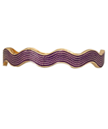 Gold Tone and Purple Wavy Enamel Fashion Bangle... - $17.49