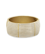 Elegant Gold Tone Lined Design White Pearlescen... - $26.97