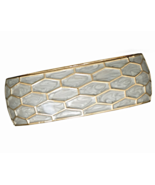Gold Tone and Pearlescent Enamel Honeycomb Desi... - $13.97