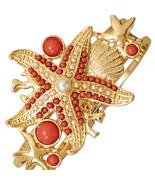 Bold Coral Sea Shore Themed Gold Toned Fashion ... - $12.97