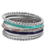 Set of 7 Silver Tone Fashion Bangle Bracelets w... - $29.99
