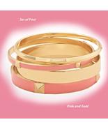 Pink & Gold Bangle Fashion Bracelet Set, (4 Bra... - $29.99