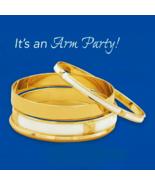 White & Gold Bangle Fashion Bracelet Set, (4 Br... - $26.99
