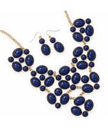Gold Tone Navy Blue Bib Style Fashion Necklace ... - $33.00