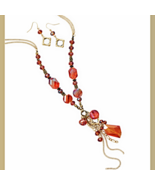 X-tra Long Gold Tone Fashion Necklace and Earri... - $31.99