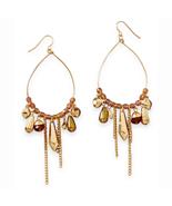 Gold Tone Pear Shape Drop Fashion Earrings with... - $13.12