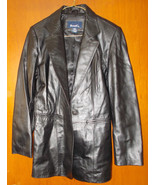Denim & Co. Genuine Leather Jacket Black RN8189... - $27.72
