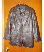 Denim & Co. Genuine Leather Jacket Brown  RN818... - $27.72