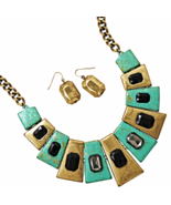 Green and Gold Tone Cleopatra Style Fashion Nec... - $29.73