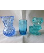 Vintage Blue & Aqua Toothpick Holders, Etched &... - $9.99