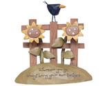 Buy Crow and Sunflowers Fence Figurine Resin