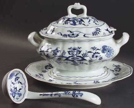 Blue Danube Tureen Set with Underplate and Ladle blue and white Fine China Vtg