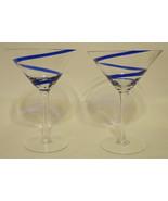Cobalt Blue Swirl Martini Glasses Set of 2 - $24.74